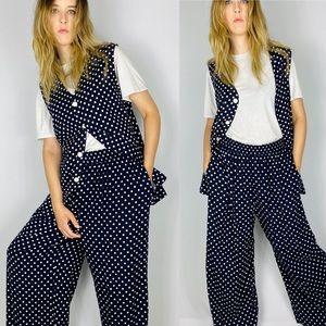 90s casual wide leg polka dot pants set